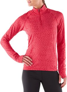 The REI Midweight Space Dye Zip-T shirt can be worn alone or used as a performance base layer.