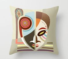 Maskermorphosis Couch Throw Pillow by Lanre Studio - Cover x with pillow insert - Indoor Pillow Custom Pillows, Decorative Pillows, Made Design, Unique Duvet Covers, African Home Decor, African Masks, Designer Throw Pillows, Fabric Painting, Pillow Inserts