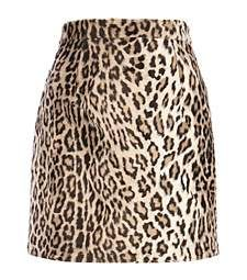 Brown leopard print faux fur mini skirt £35.00