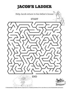 Genesis 28 Jacobs Ladder Bible Mazes: Can your kids navigate every twist and turn of this Jacobs Ladder activity? Beautifully designed this Bible Maze is perfect for your upcoming Genesis 28 Sunday school lesson.
