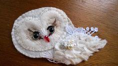 white owl - brooch