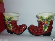 Fitz and Floyd Salt Pepper Shakers Christmas Santa's Boots |