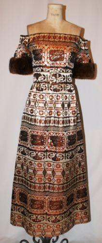 VINTAGE-1970S-OSCAR-DE-LA-RENTA-TAPESTRY-BROCADE-OFF-SHOULDER-MINK-GOWN-DRESS