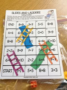 Second Grade Style: Math Games for the New School Year Can easily make this with multiplication/division I Love Math, Fun Math, Math Resources, Math Activities, Math Addition, Doubles Addition, Addition Facts, Second Grade Math, Grade 2
