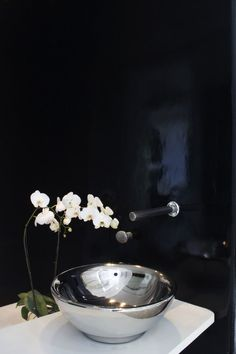 ♂ Elegant contemporary simple black bathroom with metal sink