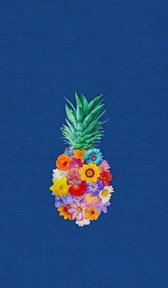 おしゃれ!!パイナップル&花柄iPhone壁紙 iPhone 5/5S 6/6S PLUS SE Wallpaper Background