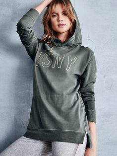 Comfy fleece + cool zippers = the latest way to master street style. | Victoria's Secret Fleece Side-Zip Hooded Tunic