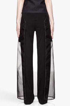 Maison Martin MARGIELA | Black Sheer Skirt Layered Trousers
