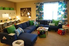 Seating can get tight when you're a family of The IKEA Home Tour Squad added the NORSBORG couch to the Wilkinson's family room so that everyone would have a spot to sit (plus a few inches of wiggle room!) and enjoy family movie nights. Home Theater Setup, Home Theater Seating, Game Room Decor, Living Room Decor, Ikea Home Tour, Ikea Couch, Ikea Sectional, Family Room Design, Design Room