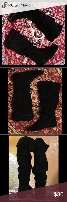 Gianni Bini Black Suede Moccasin Style Knee Boots Black Suede Leather Slight Slouch & Top Fold Over Moccasin Style Flat Walking Boot by Gianni Bini Gianni Bini Shoes