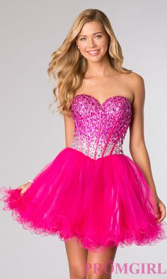 Short Strapless Hot Pink Beaded Party Dress by Alyce Paris 3635. A fun dress for a Bat Mitzvah party.