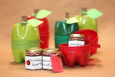 Plastic Bottle Apple Containers filled with mini jars of apple butter from Fruitful Delights. www.etsy.com/shop/FruitfulDelights