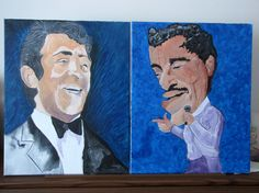 """Sammy Davis Jr. & Dean Martin, RENO paintings, acrylics on canvas, 18"""" x 20"""" (March 2013) - My tribute to two great showmen of the showbiz world and of Sinatra's world."""