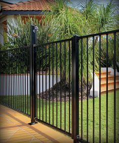 Fencing | Aluminium Pool Fencing | Pool Fence | Stratco - but with timber posts. like the colour of the pavers