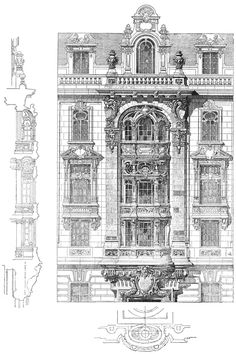Competition facades in Paris. Architect Hulot. The architecture of the second half of the XIX century. Drawings and sketches.