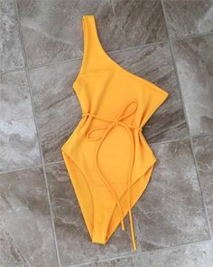 yellow one shoulder one piece bathing suit beach wear one piece