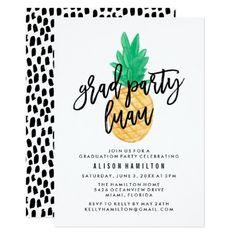 Tropical Luau   Graduation Party Invitation