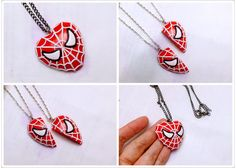 The Original Spiderman Heart Pandent Necklace / BFF by GUOCRAFTS, $25.80