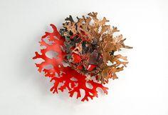 Kate Bajic, Reaction brooch, copper, silver, spray paint, 2015