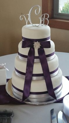 Wedding Cake - 4 tier - White Velvet Cake filled with Strawberry Swiss Meringue - Purple/eggplant and Silver ribbons
