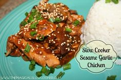 This slow cooker sesame garlic chicken reminds me of a teriyaki chicken dish, that local Hawaiian restaurant serves, but now when I have a craving, I can make this, and it's a lot cheaper too! I like to serve this with jasmine rice, and a drizzle of Sriracha hot chili sauce (only if want to make it super spicy!). >> http://themagicalslowcooker.com/2013/02/24/slow-cooker-sesame-garlic-chicken/