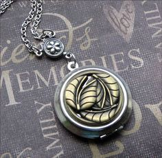 Silver Locket Necklace  Autumn Leaves  by TheEnchantedLocket