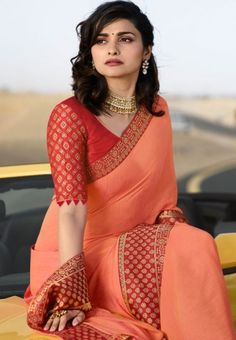 blouse designs latest Buy prachi desai peach silk saree 20584 online in USA, UK and Canada from Indian Blouse Designs, Saree Jacket Designs, Cotton Saree Blouse Designs, Simple Blouse Designs, Bridal Blouse Designs, Blouse For Silk Saree, Pattern Blouses For Sarees, Saree Blouse Patterns, Sexy Blouse