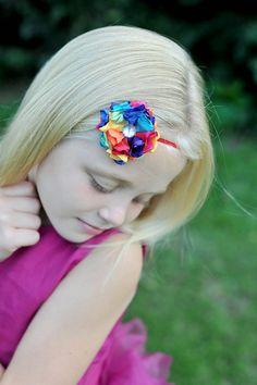 Mini Satin Flower Headband-Rainbow Satin Flower Headband-Newborn Headband-Baby Accessories-Toddler Accessories on Etsy, $5.00