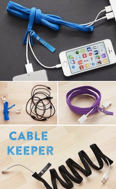 Keep your phone chargers, headphones, and other cables organized and untangled with the NEET cable keeper. Easy to zip one or more cables inside and, with bendable wire sewn in, fold or shape your cables and they'll stay that way.