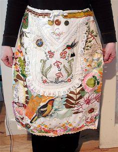 Vintage Birds Apron / Quilt  Altered Fabrics Folk Art Collage Assemblage.