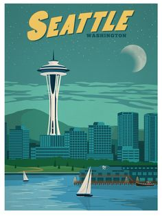Vintage travel retro print of Seattle Washington and the Space Needle, Puget Sound