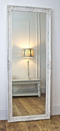 Gerona White Shabby Chic Leaner Antique Dress Mirror 25 x 63 X Large