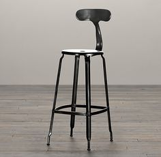 RH's French T-Back Stool:Popularized in 21st-century French factories, our…
