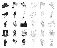 Day of Patriot, holiday black,outline icons in set collection for design. Art Designs, Outline, Graphic Art, Symbols, Icons, American, Illustration, Holiday, Collection
