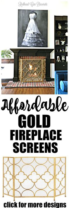 What a gorgeous gold fireplace screen that didn't cost a fortune!