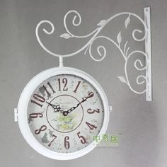 Lovely Shabby Chic Continental White Iron Double-sided Wall Clock w/Glass Enclosure
