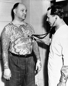 vintage tattoos - check out the chest art