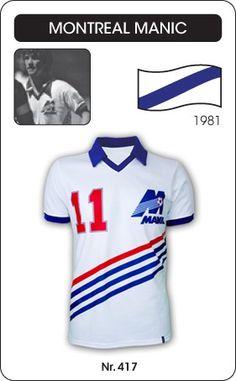 Montreal Manic voetbalshirt 1981   Dit shirt werd gedragen door de voetballer Gordon Hill, speler van Montreal Manic in 1981. Montreal Manic is een voormalig Canadese club wat slechts drie jaar heeft bestaan. Het is opgericht in 1981, wanneer er in Amerika clubs mee stoppen kan een geïnteresseerde de 'plaats' in een divisie overkopen, de plaats van Philadelphia Fury werd overgekocht en werd meegenomen naar Montreal, Québec. Zo ontstond Montreal Manic in 1981, drie seizoenen speelden ze in de…