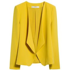 Mango Waterfall Structured Jacket ($27) ❤ liked on Polyvore featuring outerwear, jackets, blazer, coats, coats & jackets, yellow flash, structured jacket, long sleeve jacket, yellow jacket and lined jacket