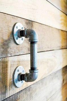 Industrial Vintage Style Draw / Door Handle - Made From Industrial Pipe Fittings Industrial Door, Industrial Furniture, Industrial Style, Knobs And Knockers, Door Knobs, Galvanized Pipe, Pipe Furniture, Iron Doors, Sliding Doors
