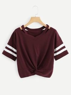 Shop Cut Out Neck Varsity Striped Knot Front Tee online. SheIn offers Cut Out Neck Varsity Striped Knot Front Tee & more to fit your fashionable needs. Crop Top Outfits, Cute Casual Outfits, Casual T Shirts, Cute Shirts, Teen Fashion Outfits, Girl Outfits, Summer Outfits, Summer Dresses, Ladies Fashion