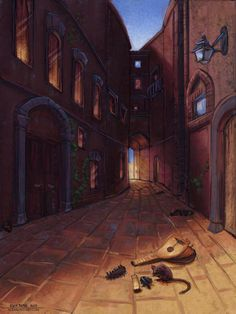 """An alley in Tarbean moments after Kvothe lost his father's lute. From Patrick Rothfuss' """"The Name of the Wind"""" from """"The Kingkiller Chronicle"""". Fantasy Literature, Fantasy Books, Warrior Cats, Doors Of Stone, Books And Coffee, The Wise Man's Fear, The Kingkiller Chronicles, Patrick Rothfuss, Names"""