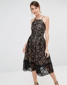 Warehouse Premium Lace Full Midi Dress