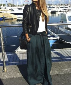 Maxi skirt + short jacket (melhor: colete sem mangas)