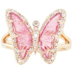 14kt rose gold and diamond pink tourmaline butterfly ring – Luna Skye (5,765 BAM) ❤ liked on Polyvore featuring jewelry, rings, heart ring, pink tourmaline ring, heart shaped rings, rubellite ring and rose gold rings