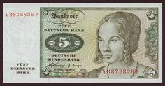 German currency 5 Deutsche Mark banknote of 1960, Venetian Woman by Albrecht Dürer.