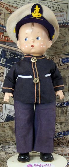 Vintage Effanbee Doll 'Skippy' was modeled on a comic strip character by P. J. Crosby, played in the movie version by Jackie Cooper.  Skippy dolls were produced through ❀1943.
