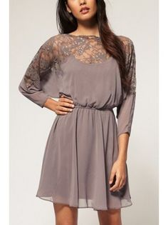 Belted Mesh Lace Trimmed Dress