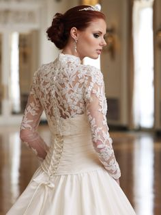 Vintage Wedding Dresses With Sleeves   Vintage Lace Long Sleeve Corset Sweetheart A-line Strapless Wedding ...
