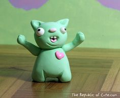 Crazy Green Pig Figurine with Pink Heart  Fun by RepublicOfCute, $11.99